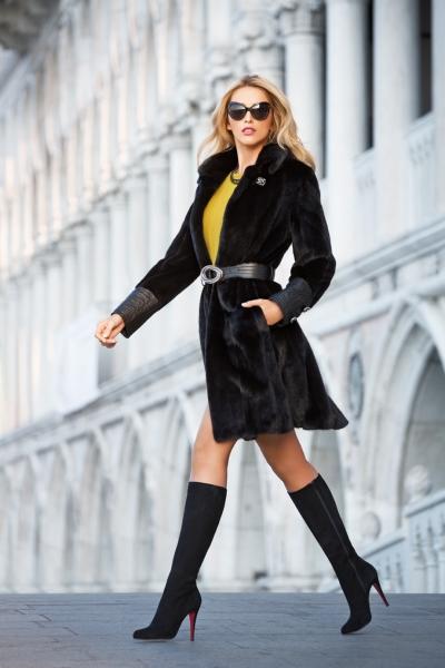 Черная норковая шуба - классика верхней женской одежды